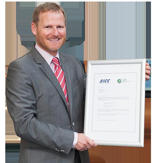 Andreas Feichtinger mit EICC-Zertifikat.
